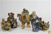 Sale 8490 - Lot 319 - Signed Pottery Incense Burner, Shishi Dogs & Other Items