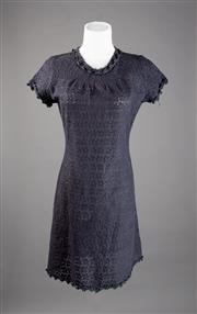 Sale 8499A - Lot 50 - A Vallen broderie anglaise (lace) black shift mini dress.