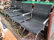 Sale 8585 - Lot 1725 - Set of Black and Chrome Reception Chairs