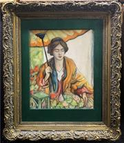 Sale 8682 - Lot 2002 - Artist Unknown - Lady with Parasol, oil on board, unsigned -