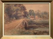 Sale 8682 - Lot 2067 - Artist Unknown - Quaint Country Scene watercolour, 58 x 80cm (frame), unsigned