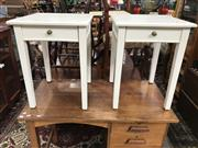 Sale 8822 - Lot 1570 - Pair of Elevated Timber Side Tables with Single Drawers