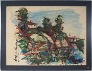Sale 8945 - Lot 2048 - Drago Cherina (1949 - ) - Mountaintop House 54 x 73 cm (frame: 85 x 66 x 2 cm)