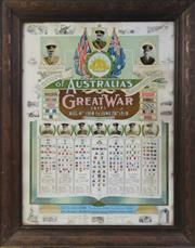 Sale 8994W - Lot 652 - An Early Framed Oak Coloured Poster Of The Voluntary Effort Of Australia AIF In The Great War, Mounted On Board (75cm x 58cm)