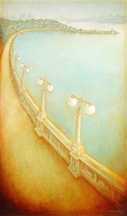 Sale 9038 - Lot 512 - George Hatsatouris (1947 - ) - Rose Bay Promenade, 1991 151 x 90 cm (frame: 158 x 97 x 3 cm)