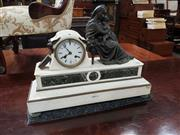 Sale 9031 - Lot 1030 - 19th Century French White & Green Marble Mantle Clock, the movement marked Miroy Freres, Paris, mounted with a bronze of the Madonna...
