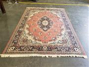 Sale 9051 - Lot 1071 - Pink & Cream Tone Turkish Made Carpet With Floral Border On Blue & Black Background With Large Central Medallion (240 x 340cm)