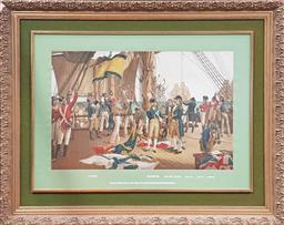 Sale 9126 - Lot 1004A - Howards Victory at Trafalgar Engraving, in gilt frame