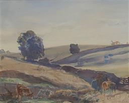 Sale 9123J - Lot 51 - Hans Heysen Cattle in Valley watercolour 30x39cm signed lower right.