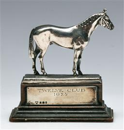 Sale 9138 - Lot 25 - George V Hallmarked English Sterling Silver Horse Figurine, London, c1927, by James Dixon & Sons (H:10cm, incl stand)