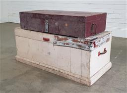Sale 9191 - Lot 1021 - Timber lift top trunk & another (h46 x w100 x d37cm)