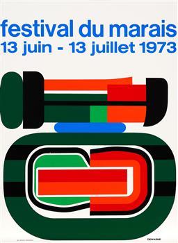 Sale 9212A - Lot 5021 - JEAN DEWASNE (1921 - 1999) - Exhibition Poster: Festival Du Marais, 1973 87 x 64 cm, sheet