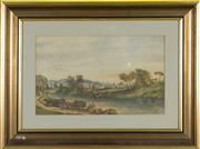 Sale 8604 - Lot 2062 - European School (XIX - XX) - Peasants by the River 18 x 30cm
