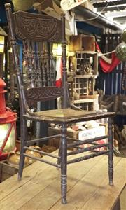 Sale 8320 - Lot 618 - Pressback American standard chair with original paint finish and cane seat circa 1900