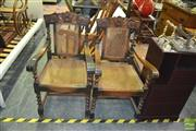 Sale 8337 - Lot 1085 - Pair of Carved Back Armchairs with Rattan Back and Seat & Barley Twist Supports