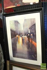 Sale 8468 - Lot 2087 - Artist Unknown - Rainy Street frame size: 68 x 53cm
