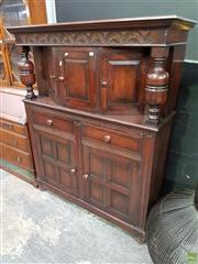 Sale 8570 - Lot 1007 - Oak Court Cabinet (155 x 127 x 47cm)