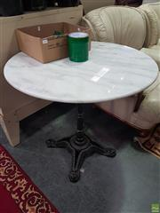 Sale 8601 - Lot 1074 - White Marble Top Table (D: 80cm)