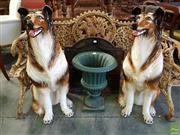 Sale 8598 - Lot 1085 - Pair of Italian Large Pottery Collie Dogs, modelled seated (repair to one foot) (H:88cm)