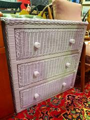 Sale 8648 - Lot 1034 - Cane Chest of Three Drawers & Small Timber Example (2)