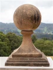 Sale 8677A - Lot 26 - Pair of raised composite sphere finials (raised H x 70 cm)