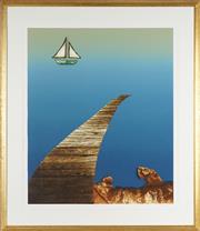Sale 8789 - Lot 2046 - Mike Phelps (1946 - ) - Pier I 87 x 74cm