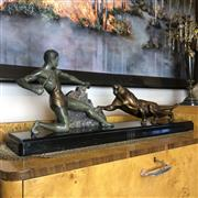 Sale 8795K - Lot 28 - An Art Deco bronze and marble centrepiece, signed BRAULT