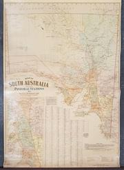 Sale 8868 - Lot 1025 - Map of South Australian Pastoral Stations, on canvas, by H E C Robinson Ltd 221-223 George St