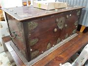 Sale 8934 - Lot 1074 - Anglo Indian Lift Top Trunk with Brass Mounts - locked (H: 50 W: 100 D: 55cm)