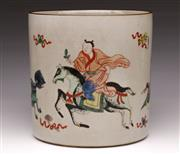 Sale 9078 - Lot 186 - A Porcelain Chinese Brushpot Featuring Man On Horseback H: 20cm