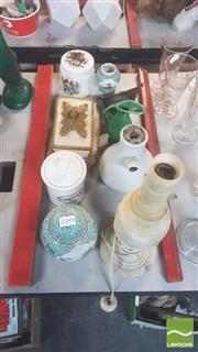 Sale 8417 - Lot 18 - Bakewells Elico Inhaler (AF) with Other Wares incl Alabaster Lamp