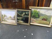 Sale 8417T - Lot 2077 - Group of 3 Framed Paintings, all signed