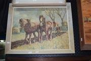 Sale 8419T - Lot 2031 - Artist Unknown - Clydesdales on the Plow, oil on canvas laid on board, 37.5 x 48.5cm, signed lower right