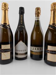 Sale 8454W - Lot 64 - 4x Sparkling Wines - 1x 2002 Croser, 2x NV Chandon, 1x NV Jansz