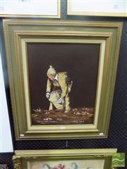Sale 8483 - Lot 2018 - James Egan (1929 - ) - Gathering Potatoes Bungaree 50 x 39cm