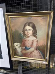Sale 9050 - Lot 2025 - Artist Unknown, Girl with Lamb, oil on canvas on board (AF), frame: 61 x 50 cm, no visible markings