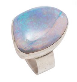 Sale 9107J - Lot 317 - A SILVER OPAL COCKTAIL RING; collet set with a 23.6 x 17.8mm freeform cabochon Ethiopian opal (cracks) on plain shank, size Z++, wt....