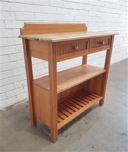 Sale 9121 - Lot 1073 - Tiered timber two drawer hall stand (h:96 w:91 d:40cm)