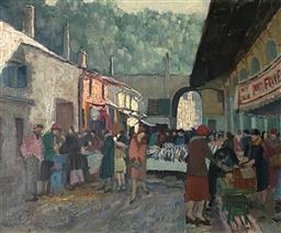 Sale 9123J - Lot 55 - Ethel Carrick Fox French Merchants, oil on canvas 50x60cm signed lower left.