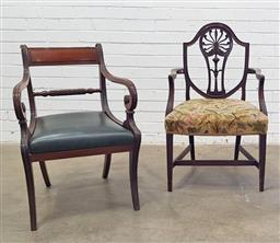 Sale 9142 - Lot 1043 - Regency Mahogany Armchair & Another in the Georgian manner, the Regency armchair with rope-twist back rail, bottle green leather dro...