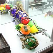 Sale 8304 - Lot 55 - Art Glass Fruits in & 2 Decorative Glass Buoys