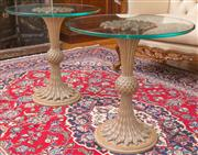Sale 8435A - Lot 16 - A pair of carved organic based glass top occasional tables, D 56 x H 57cm
