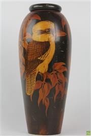 Sale 8555 - Lot 95 - Large Pokerwork Kookaburra Vase