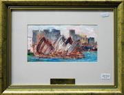 Sale 8563T - Lot 2010 - Barry Chamberlain - Sydney Opera House, 1993, oil painting, 12 x 22cm, signed lower left