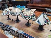 Sale 8601 - Lot 1491 - Two Pairs of Leadlight Lamps