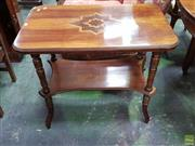 Sale 8634 - Lot 1073 - Late Victorian Inlaid Walnut Occasional Table, with star pattern to the rectangular top, above a shelf & on turned legs