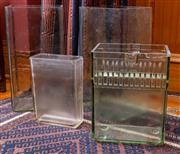 Sale 8625A - Lot 61 - Four glass battery acid jars, tallest height 52cm.