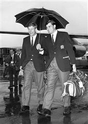 Sale 8754A - Lot 41 - NSW Wallabies Players John Thornett and Peter Crittle arrive at Heathrow Airport, London, UK 10 October 1966 - 21 x 15cm