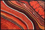 Sale 8789 - Lot 2032 - Steve Wilson - Bushfire, Deathadder Fire Trail 2004 80.5 x 119.5cm (framed/ready to hang)
