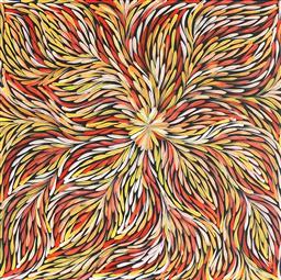 Sale 9042A - Lot 5095 - Janet Golder Kngwarreye (1973 - ) - Yam Leaf 60 x 57cm (stretched & ready to hang)